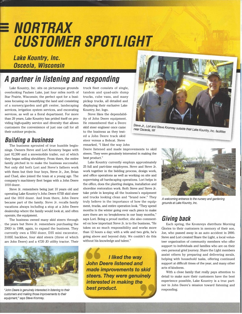 Nortrax Customer Spotlight Article About Lake Kountry